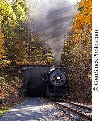 Steam locomotive leaving tunnel - Old steam train pulling...