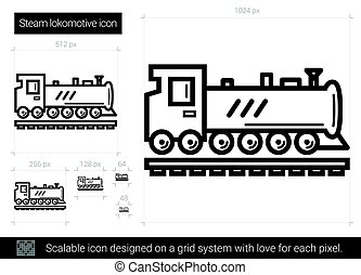Steam locomotive line icon.