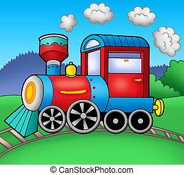 Steam locomotive on rails - color illustration.