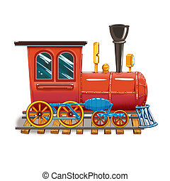 Steam locomotive on the tracks