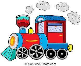 Steam locomotive on white background - isolated illustration.