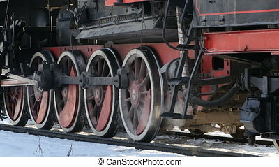 Steam locomotive smokes hot steam
