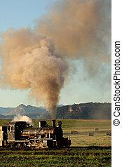 Steam locomotive - Vintage steam locomotive with billowing...