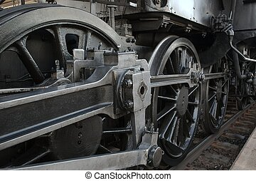 Steam Locomotive - Steam locomotive detail with cranks and...