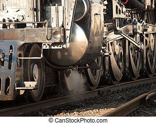 Steam Locomotive - Wheels of the steam locomotive No. 844 of...