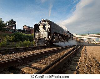 Steam Locomotive No. 844 of Union Pacific Railroad leaving...