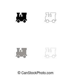 Steam locomotive - train black and grey set icon .