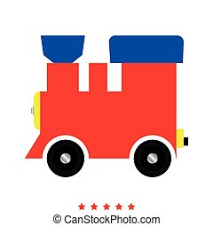 Steam locomotive - train icon .  Flat style