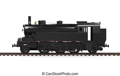 Steam Locomotive Train isolated on white background. 3D...