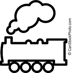 Steam Locomotive Train Line Icon In Flat Style Vector For Apps, UI Etc. Black Vector Train Icon