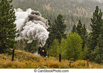 Steam Locomotive Train Okanagan Valley near Summerland British Columbia Canada