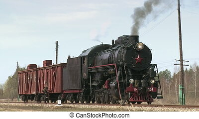 Steam Locomotive Train - Old steam locomotive train begins...