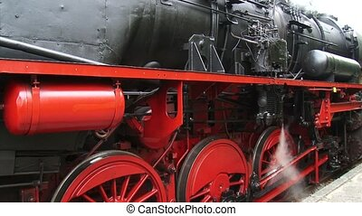 Steam locomotive under pressure - full screen. Locomotive 52...