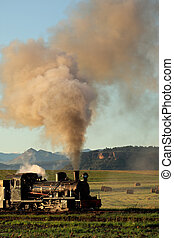 Steam locomotive - Vintage steam locomotive with billowing...