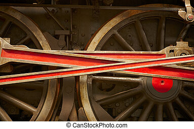 Steam locomotive wheel and connecting rod detail. Horizontal