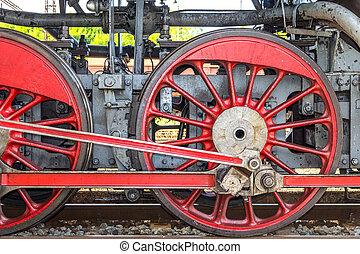 Steam locomotive wheels.
