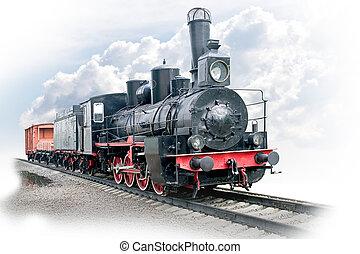 Steam locomotive with wagon