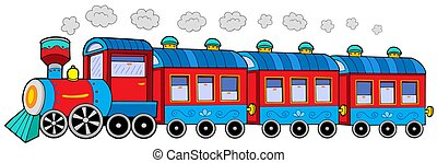 Steam locomotive with wagons - isolated illustration.
