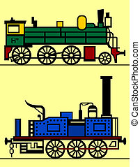 Steam locomotives isolated on yellow background