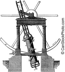 Steam machine, vintage engraving.