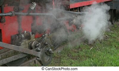 Steam Out of Locomotive Pipe - Steam is getting out from the...