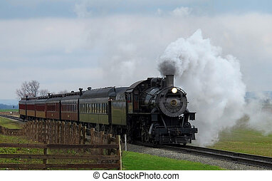 Steam Passenger Train - An old time steam passenger train