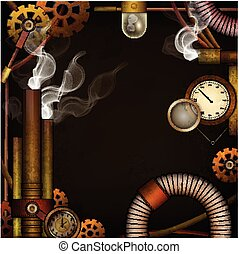 Steam punk background, Vector illustration.