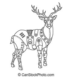 Steam punk deer coloring book vector - Steam punk style...