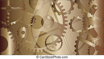 Steam Punk Gears - A metal gear faded background