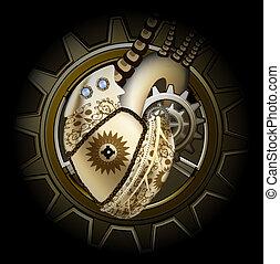 Steam punk golden mechanical heart illustration