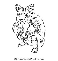 Steam punk hamster coloring book vector - Steam punk style...