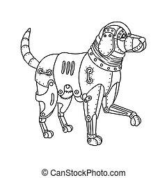 Steam punk retriever dog coloring book vector - Steam punk...