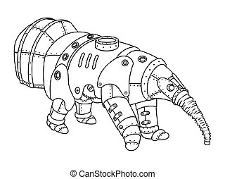 Steam punk style anteater coloring book vector - Steam punk...