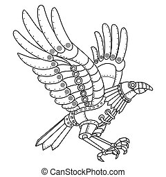 Steam punk style crow coloring book vector - Steam punk...