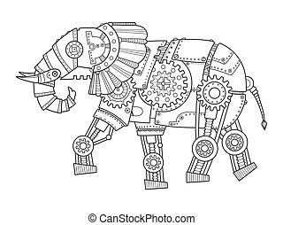 Steam punk style elephant coloring book vector - Steam punk...