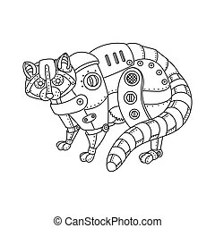 Steam punk style raccoon coloring book vector - Steam punk...