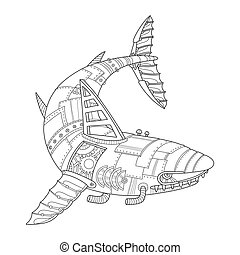 Steam punk style shark coloring book vector - Steam punk...