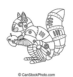 Steam punk style squirrel coloring book vector - Steam punk...