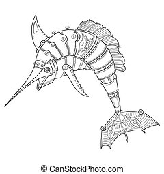 Steam punk style swordfish coloring book vector - Steam punk...