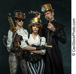 Steam punk style. The people of the Victorian era in an...