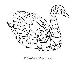 Steam punk swan coloring book vector - Steam punk style...