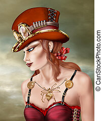 Steam Punk Woman in Red