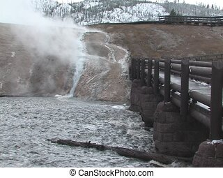Yellowstone River - Steam rising over Yellowstone River