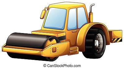 Steam roller - Close up yellow steam roller