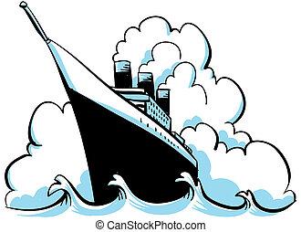 A cartoon steam ship on the ocean.