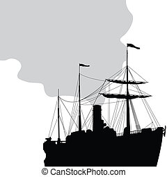 Steam ship silhouette over white background