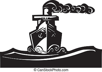 Steam Ship - Woodcut style image of a art deco steam ship on...