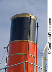 Steam ship funnel - Funnel of old steam ship painted red...