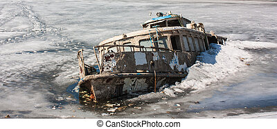 Steam-ship sunk in the ice of the Gulf River