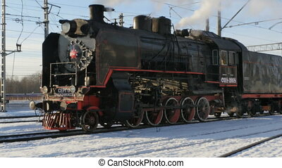 steam train at the station winter